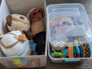 how to organize baby toys with storage bins